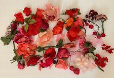 Lot of Hat Making Antique Vintage Millinery Flower Posy Red Pink Roses Velvet