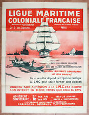 Affiche ancienne LIGUE MARITIME ET COLONIALE Marine Indochine HAFFNER Colonies