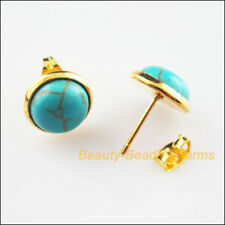 10Pcs Gold Plated Round Turquoise Wire Earrings Hooks Findings 12x16.5mm