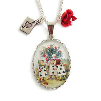 Alice in Wonderland necklace PAINTING the ROSES charm red queen of hearts cards