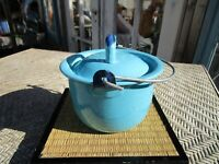 Vintage Small Blue Enamelware Handled Cooking Pot Pan Camping Farmhouse