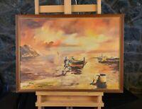 Antique Oil Painting - Fishermen & Boats Sea Shore on Isle of Capri Italy - Erol