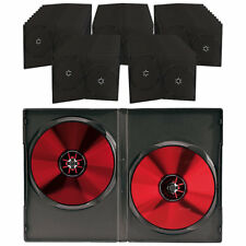 Case für CD & DVD: Doppel-CD-/DVD-Hüllen schwarz 50er-Pack (CD Leerhüllen)