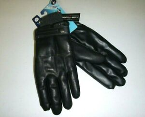 Isotoner mens SleekHeat Faux Nappa Leather w/ gray cuff SmartTouch Winter Gloves