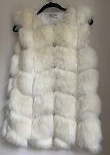 OFF WHITE FUR GILET UK 12 OR M WINTER XMAS TOWIE CELEB PARTY LUXURY CHIC GLAM