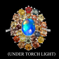 Unheated Oval Fire Opal 8x6mm Sapphire Multi Colors 925 Sterling Silver Ring