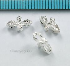 6x BRIGHT STERLING SILVER FLOWER LEAF SPACER BEAD 9.2mm 5.3mm #891