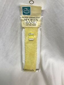 Vtg Goody Sport Band Cotton Terry Headband Yellow Head Band