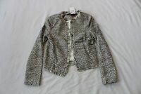 MNG Basics Women's Open Front Patterned Fringe Detail Jacket MW7 White Size XS