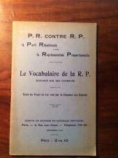 LE PARTI REPUBLICAIN CONTRE LA REPRESENTATION PROPORTIONNELLE 1912 EO