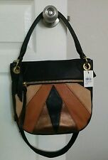 Fossil Karli Small Hobo Black Multi Leather Purse Bag SHB1170016 NEW NWT