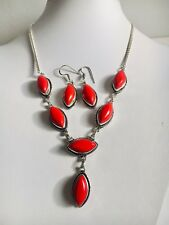 Red Coral & Silver Overlay Necklace 45.7cm, Earrings 45.7cm Gemstone Jewellery