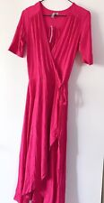 new Women Lady ASOS Summer Hot pink Short Sleeves Tunic Wrap Dress UK4