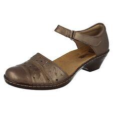 Clarks Wendy Laurel Ladies Wedge Heel Shoe Pewter Leather Combi Uk5x7 (go) Uk6.5 Eu40