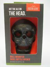 "New Skull Bottle Opener Wall Mounted Cast Iron Foster & Rye Black Halloween ""J"""