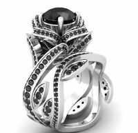 Certified Lotus Flower Black Diamond 14K White Gold Engagement Wedding Ring Set