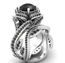 Certified Lotus Flower Black Diamond 14K White Gold Engagement Wedding Ring Set