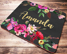 Personalized Name Mouse Pad Floral Custom Mousepad Desk Accessories Office Gifts