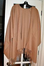 NWT $225 PORTOLANO 100% Wool Shawl Ruana Fringe Trim Camel