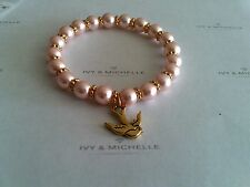 Glass Pearl Vinatge Rose w/ Swallow Bird Charm Beaded Stretch Bracelet