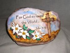 """Beautifully Hand Painted Ceramic Garden Rock Plaque """"For God So Loved The World"""""""