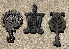 3 Vtg Cast Iron Trivet Lot brooms Eagle Tulip Footed Wilton & More Antique Farm