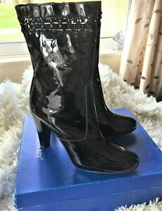 BNIB Marisa May Black Patent Leather Over the Ankle Boots UK 8 EU 41 RRP £159