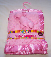 Hopscotch Pink Colour Soft Touch Baby Blanket New + Bonus Hanger & Toy