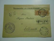 RACCOMANDATA R.R. 1927 CONGREGAZIONE DI CARITA'  LECCE AL SINDACO DI  COLLEPASSO