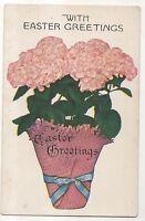 """With Easter Greetings"" Basket full of Flowers - Vintage Postcard"