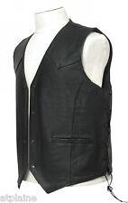 GILET CUIR LACETS noir doublé Taille M - Style BIKER HARLEY