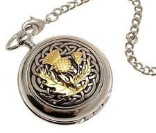 Pocket watch - Solid pewter fronted mechanical skeleton pocket watch - Two Tone
