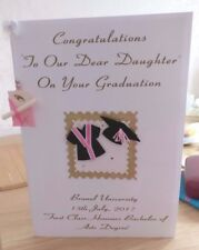 A3 Large Handmade Personalised Graduation Card pink cap & gown with real scroll