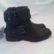 G By Guess Womens Ankle Boots Black Gray Faux Fur Biker Zip Down Buckle 8 M