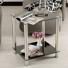 Black Glass&stainless Steel 2 Tiers Display Stand Side Lamp Coffee Table