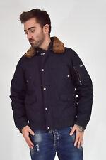 WOOLRICH Vintage Giubbotto Cappotto Coat Blu In Nylon Pelliccia TG XL Man Uomo