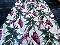 SALE! Chocolate & Sage Begonias Barkcloth Vintage Fabric Drape Curtain 1930's