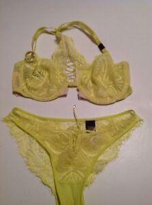 Victorias Secret Very Sexy Unlined F/C Bra Panty Set 32D,XS Yellow Lace