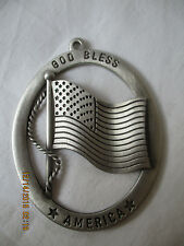 """HAMPSHIRE PEWTER COMPANY NH """"GOD BLESS AMERICA"""" CHRISTMAS ORNAMENT"""