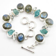 Free GIFT BOX Bracelet 7.7 Inches ! 925 Silver Natural LABRADORITE & Other Gems