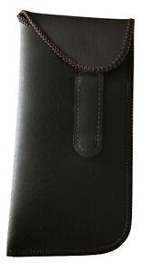 Eyeglass Case Safety Fold Over Stiched Pocket Clip  Brown Holder Belt Pouch Case