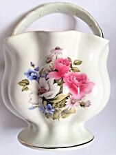 Baum Bros Procelain Basket w/Handle Pink White Florals Summer Flowers Collection