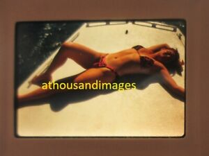 35mm Slide Photo Sexy Woman In Bikini Laying on Boat Stomach Legs JG800