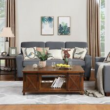 NEW Wooden TV Coffee table With Storage Shelf and Sliding Doors USA STOCK