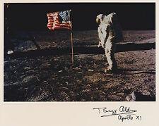 Ships FREE-Buzz Aldrin  Signed 8 x 10 NASA Kodak Photo on moon with Flag (7a)