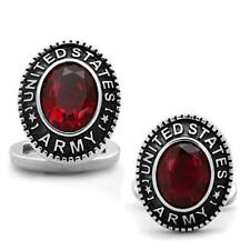 Cuff Links Stainless Steel United States Army Faceted Synthetic Siam Red Stone