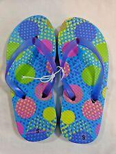 Girls Flip Flop Sandals 11/12 Blue with Multi Color Dots Sandals