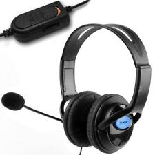 DELUXE BLACK HEADSET HEADPHONE WITH MIC VOLUME CONTROL FOR PS4 LAPTOP KT