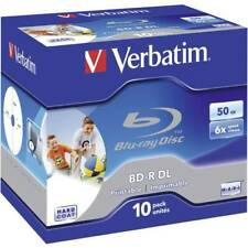 Blu-ray bd-r dl vergine 50 gb verbatim 43736 10 pz jewel case stampabile