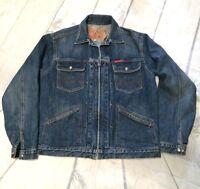 Lucky Brand Denim Jacket Medium Wash Zippered Front Closure Sz S Unisex